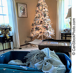 Blush Pink Ornments on White Tree, Preparing for Christmas