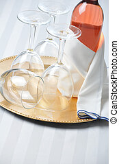 Blush Wine Bottle on Tray with Glasses