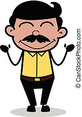 Blushing - Indian Cartoon Man Father Vector Illustration