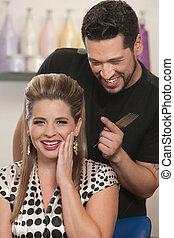 Blushing Lady with Hair Stylist - Cute Arab hair stylist...