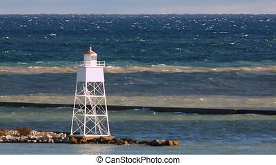 Blustery Day at Grand Marais Lighthouse Loop - Lake Superior...