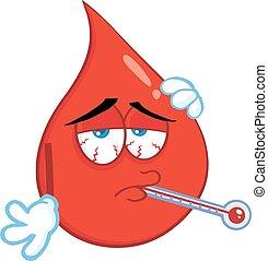 blutstropfen, krank, thermometer