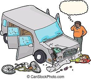 blutung, auto, beschädigt, radfahrer, unter
