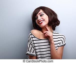 bluzka, fryzura, krótki, kasownik, młoda kobieta, śmiech, ...