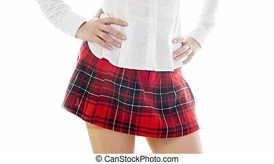 bluzka, krótki, fotografia, odizolowany, closeup, uczennica, sexy, biały, poła
