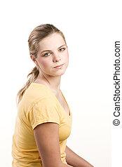 bluzka, teenage, żółty, headshot, portret, dziewczyna