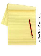 blyant, avis, gul, foret