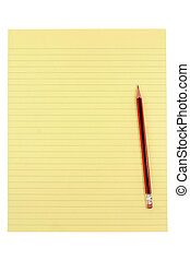 blyant, avis, gul