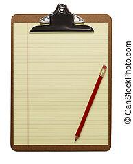 blyant, clipboard, blank