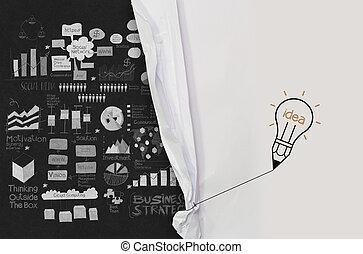 blyant, lightbulb, hæve, reb, åbn, rynk, avis, show branche, strategi, idet, begreb