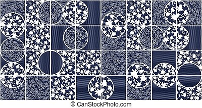 Blye Vector Azulejo Ceramic Tiles. Portuguese Azulegos Seamless Pattern with White and Cyan Colors in modern style. For wall prints and floor design