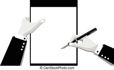 blyertspenna, anteckningsblock, hand