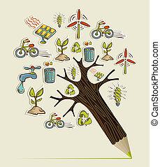 blyertspenna, begrepp, grönt träd