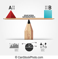 blyertspenna, begrepp, illustration, skapande, vektor, infographics, utbildning