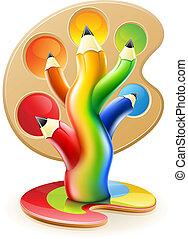 blyertspenna, begrepp, konst, färga, träd, skapande