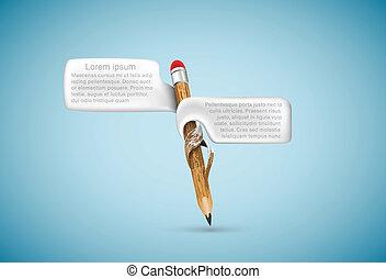 blyertspenna, bubblar, text