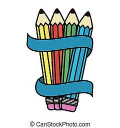 blyertspenna, färger, band, sätta