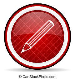 blyertspenna, glatt, bakgrund, vit röd, ikon