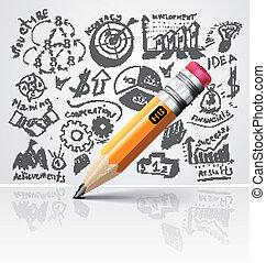 blyertspenna, idé, skapande