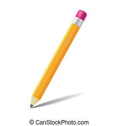 blyertspenna, -, isolerat, illustration, realistisk, bakgrund, vit