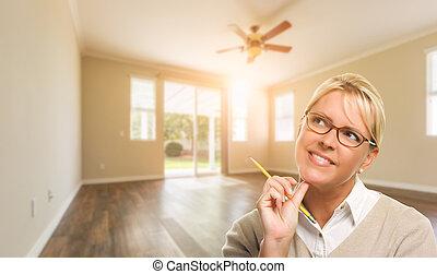 blyertspenna, kvinna, rum, hus, attraktiv, tom
