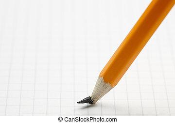 blyertspenna, med, bruten, peka