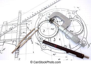 blyertspenna, mikrometer, blueprint., kompass, linjal