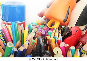 blyertspenna, olik, färger