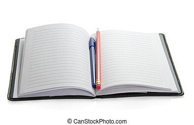blyertspenna, på, den, öppna, anteckningsblock