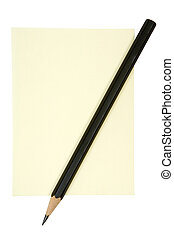 blyertspenna, på, gul anteckna