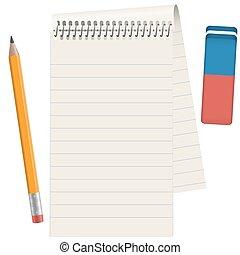 blyertspenna, papper, vaddera, radergummi