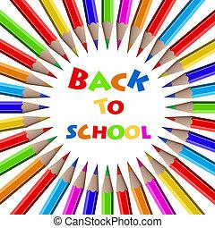 blyertspenna, school., färgrik, baksida, –, bakgrund