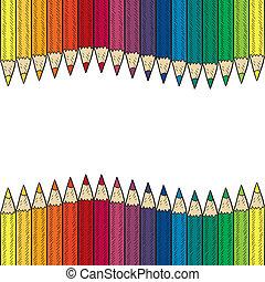 blyertspenna, seamless, färgad, gräns