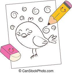 blyertspenna, skiss, fågel