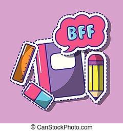 blyertspenna, skola, bff, linjal, anteckningsbok, anförande, radergummi, bubbla