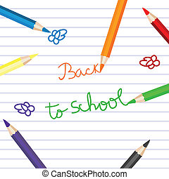 blyertspenna, skola, färgad, över, baksida, anteckningsbok tidning