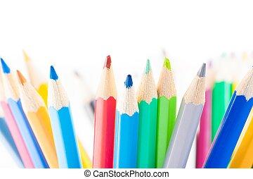 blyertspenna, skola, färgrik, utrymme, isolerat, text, tid