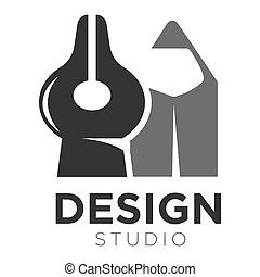 blyertspenna, spets, penna, vektor, studio, mall, design, ...