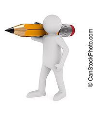 blyertspenna, trä, isolerat, illustration, bakgrund., vit, man, 3