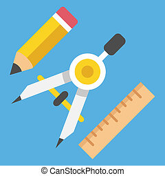 blyertspenna, var, vektor, teckning kompass