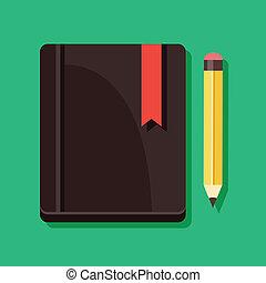 blyertspenna, vektor, anteckningsblock, ikon