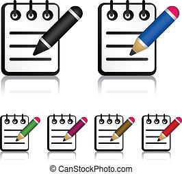 blyertspenna, vektor, anteckningsblock, ikonen