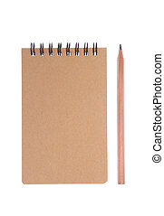 blyertspenna, vit, anteckningsblock, bakgrund