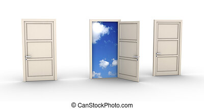 blyertsstift, sky, dörr, öppnat