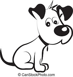 blyg, vektor, silhuett, hund, terrier