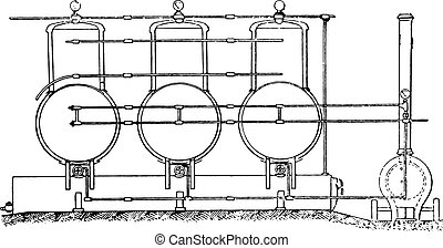 Blythe system-thermo-carbolisation. Overview of devices, vintage engraved illustration.