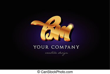 bm b m 3d gold golden alphabet letter metal logo icon design handwritten typography