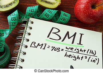 BMI body mass index (English or imperial formula) written on...