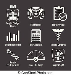 BMI / Body Mass Index Icons w scale, indicator, and calculator