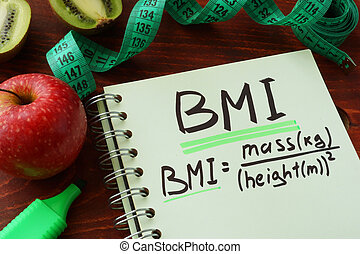 BMI body mass index (metric formula) written on a notepad...